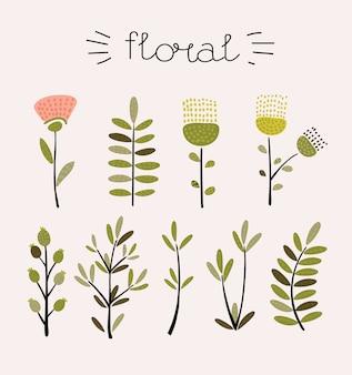Set floreale.collezione floreale colorata con foglie e fiori, disegno ad acquerello.collezione floreale colorata con fiori + 1 bellissimo bouquet.set di elementi floreali per le tue composizioni.
