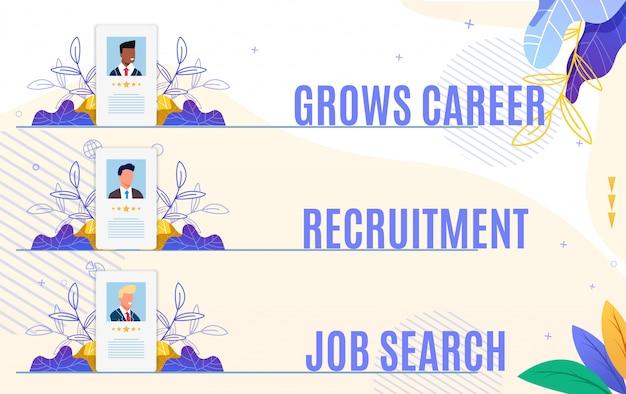Set flyer cresce ricerca di lavoro di reclutamento di carriera.