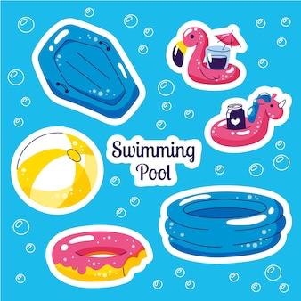 Set galleggiante per nuoto gonfiabile. adesivi estivi di vettore di festa in spiaggia