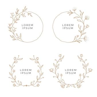 Set ghirlanda floreale disegnato a mano d'epoca
