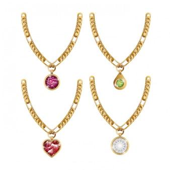 Set gioielli gemme collana isolati