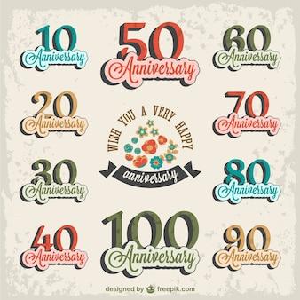Set gratuito retro anniversario