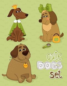 Set hipster di simpatici cani divertenti