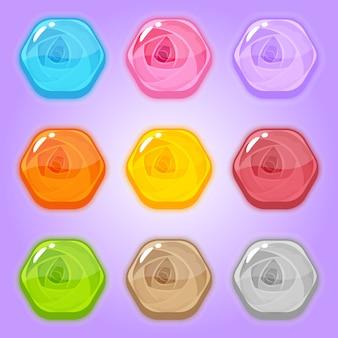 Set icona dolce rosa a forma di esagono.