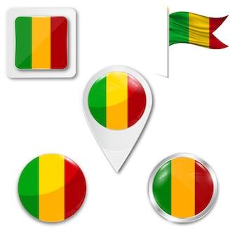 Set icone bandiera nazionale del mali