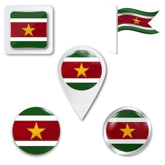 Set icone bandiera nazionale del suriname