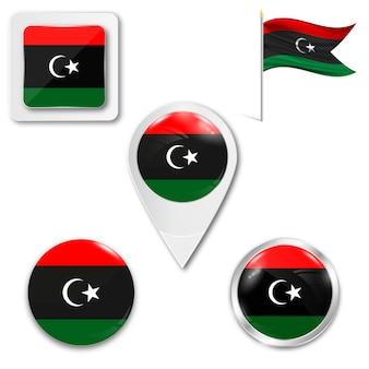 Set icone bandiera nazionale della libia