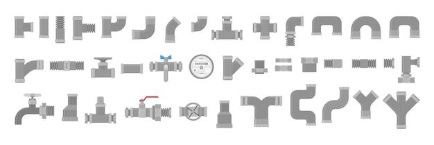 Set idraulico, raccolta di tubi. industria idraulica. elemento conduttura giallo, tecnologia industriale. illustrazione in stile