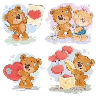 Set illustrazioni vettoriali di clip art di orsacchiotti