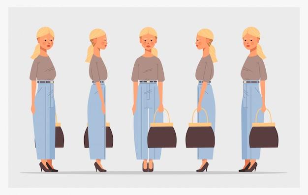 Set imprenditrice con borsetta vista frontale personaggio femminile diversi punti di vista per l'animazione