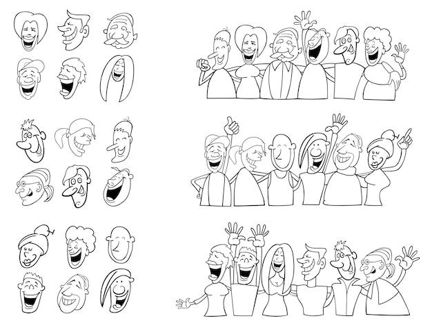 Set in bianco e nero di persone divertenti
