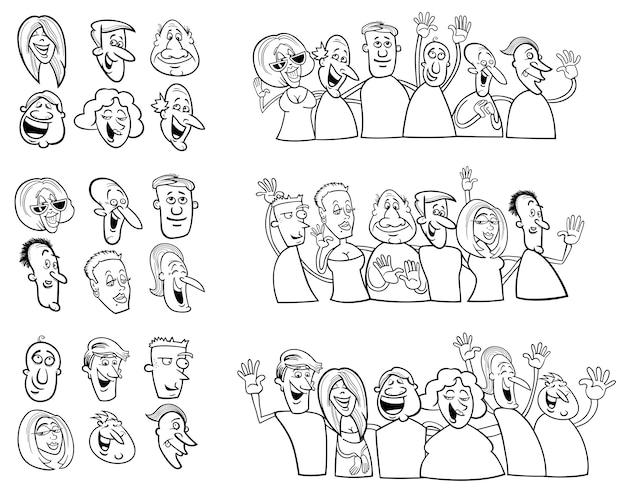 Set in bianco e nero di persone felici