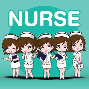 Set infermiera simpatico personaggio dei cartoni animati.