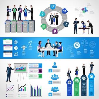 Set Infografica di lavoro di squadra