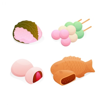 Set isometric japanese sweet dessert