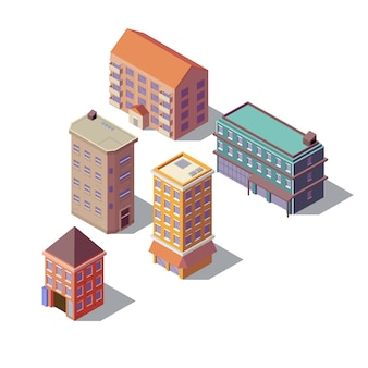 Set isometrica di edifici residenziali