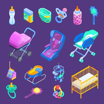 Set isometrico accessori bambino