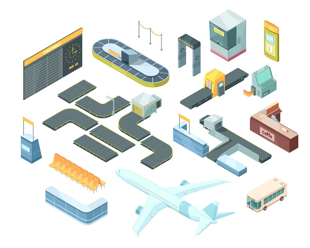 Set isometrico aeroporto