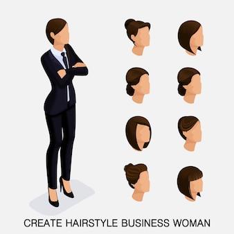 Set isometrico alla moda, acconciature da donna. giovane donna d'affari, acconciatura, colore dei capelli, isolato. crea un'immagine della donna d'affari moderna. illustrazione vettoriale