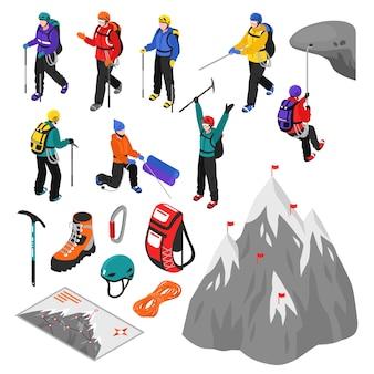Set isometrico alpinismo
