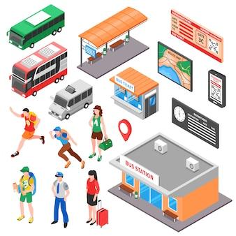 Set isometrico del terminale di autobus