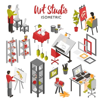 Set isometrico di art studio