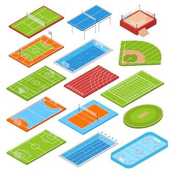 Set isometrico di campi sportivi