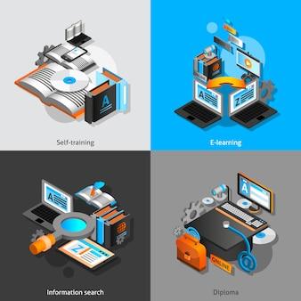 Set isometrico di e-learning