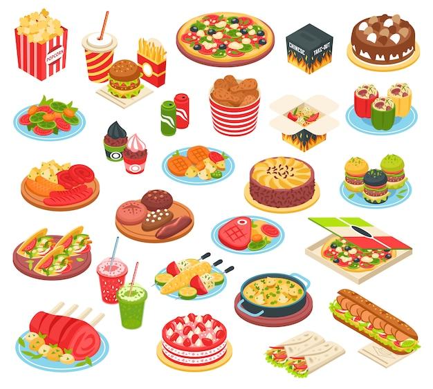 Set isometrico di fast food