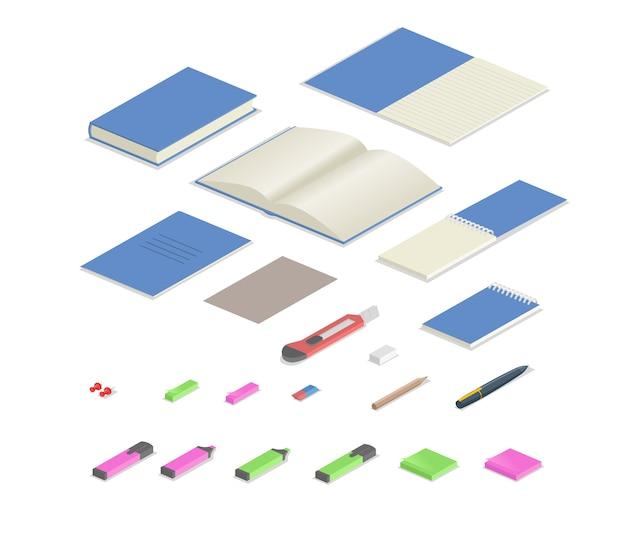 Set isometrico di forniture di cancelleria colorata. insieme isometrico di apparecchiature per ufficio. illustrazione piatta. isolato su sfondo bianco.