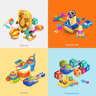 Set isometrico di giocattoli