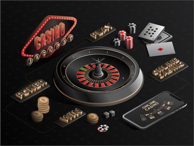 Set isometrico di giochi da casinò. pacchetto di gioco online