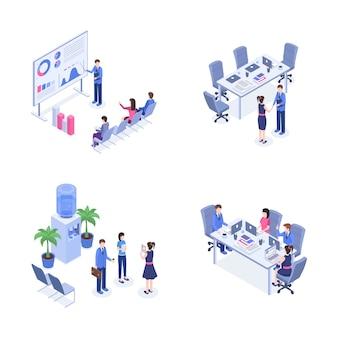 Set isometrico di lavoro di squadra.