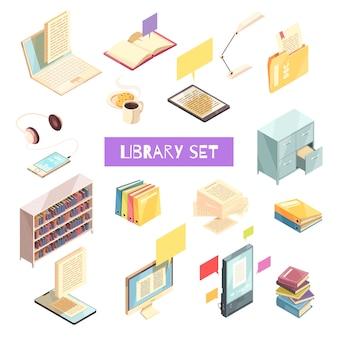 Set isometrico di libreria