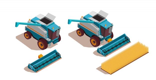 Set isometrico di macchine agricole