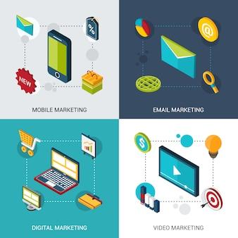 Set isometrico di marketing