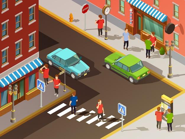 Set isometrico di navigazione città