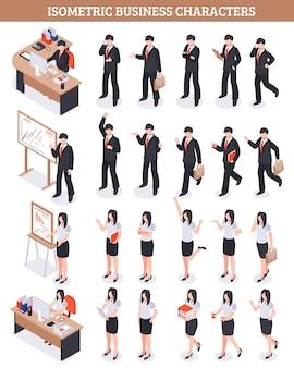 Set isometrico di personaggi aziendali