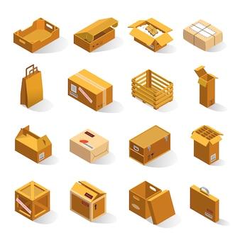 Set isometrico di scatole di consegna