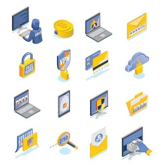 Set isometrico di sicurezza informatica