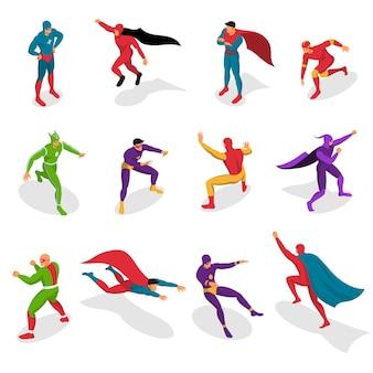 Set isometrico di supereroi