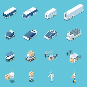 Set isometrico di veicoli e robot autonomi