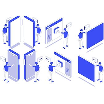 Set isometrico funzionamento dispositivo maschio
