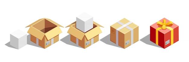 Set isometrico imballaggio pacchi
