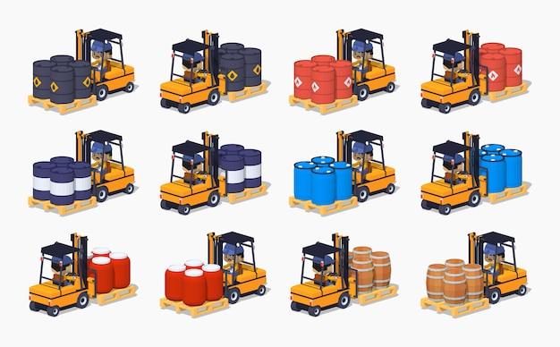 Set isometrico lowpoly 3d dei barili di metallo, plastica e legno sui carrelli elevatori