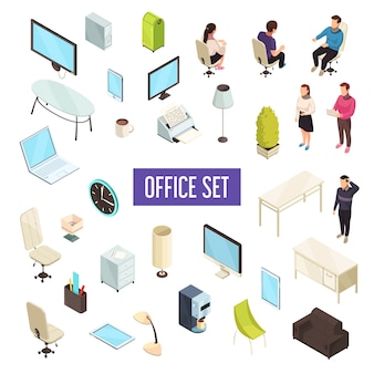 Set isometrico ufficio