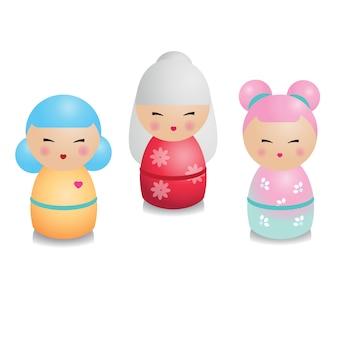 Set kokeshi. bambole giapponesi tradizionali in stile realistico.