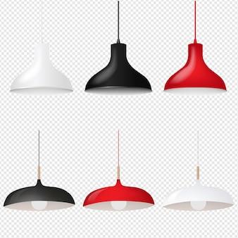 Set lampada a sospensione isolato su trasparente