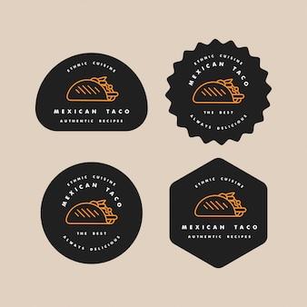 Set loghi ed emblemi dei modelli di progettazione - taco messicano. loghi in stile lineare alla moda isolato su sfondo bianco.