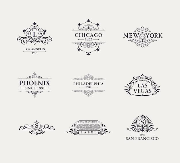 Set logo calligrafico linea di lusso